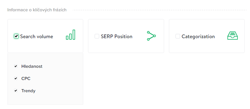Selection of Search volume Miner